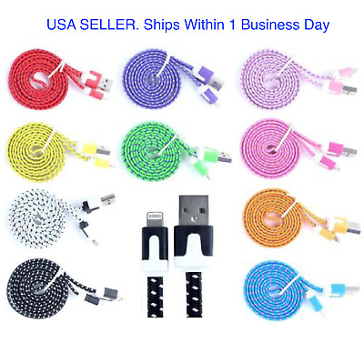For iPhone 8, X, 7, 6, & 5 Braided Charger 8-pin USB Flat Lot, 3-10 ft cables