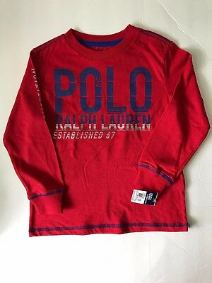 Nwt Polo Ralph Lauren Boy's Toddler 4/4Tgraphic Long Sleeve T.shirts Red
