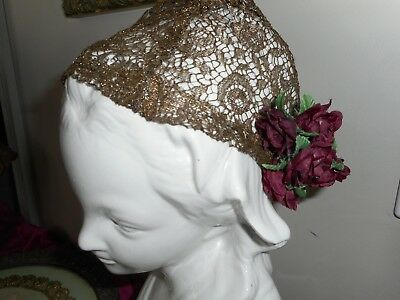 Antique metallic gold lace cap