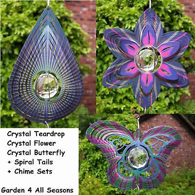 "7.5"" FLOWER BUTTERFLY TEARDROP CRYSTAL Wind Spinner Iron Stop Garden Sun Catcher"
