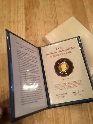 GOLD COIN 1975 Panama 100 Balboa Proof Gold Coin in original packaging with COA