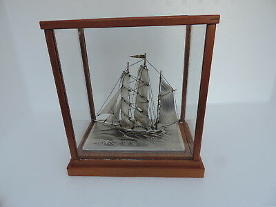 Exquisite Vintage Japanese 3 Masted Solid Sterling Silver Boat Yacht Ship Japan