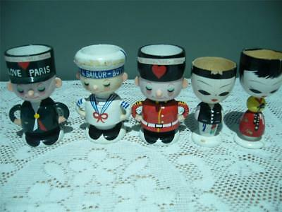 Hand Painted Wooden Egg Cups X 5 - Vintage Retro - Guard Sailor Gendarme Geishas