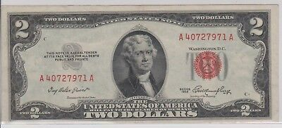 1953 A $2 Dollar Bill United States Legal Tender Red Seal Note Crisp Un