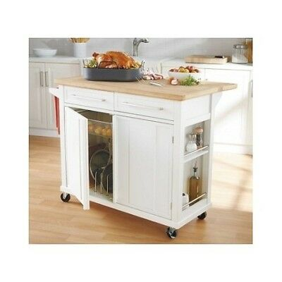 3 Of 6 Kitchen Island Wheels Work Station Portable Rolling Storage Cart Butcher Block