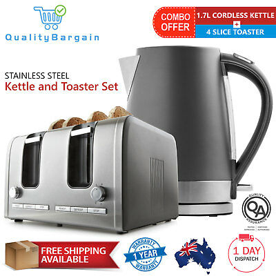 NEW Cordless Electric 1.7L Kettle and 4 Slice Toaster Combo Kitchen Set Charcoal