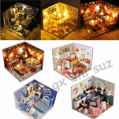 Wooden Dollhouse Miniatures DIY House Kit w/Led Light and Cover Xmas Gift