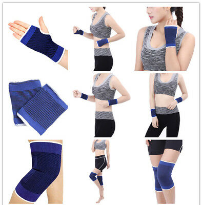1Pair Fashion Sport Elastic Wrist Knee Protector Brace Support Wrap Gym Band