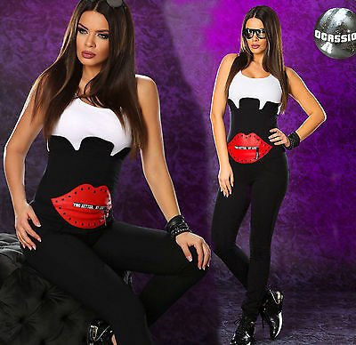 Ocassion Damenoverall Stoff Overall Hose Jumpsuit Sexy Catsuit Einteiler L 40