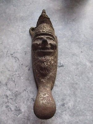 Unusual Cast Iron Antique Victorian Door Knocker Punch? Gnome? Father Christmas?