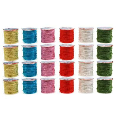 24 Rolls Mixed Color Jute Burlap Twine String Rope Cord Wedding Garden Craft
