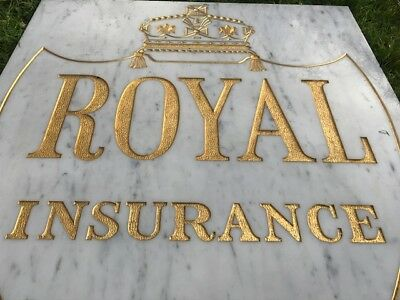 1 Reclaimed Large Architectural Marble & Gilt Inscribed Royal Insurance Sign