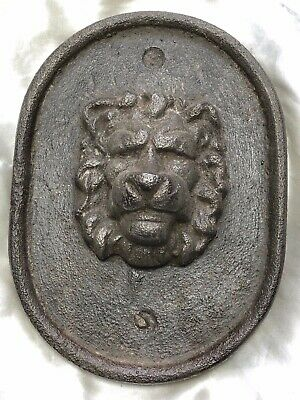 1 Antique Georgian late 18th Century Old Cast Iron Proud Lion Head Wall Plaque