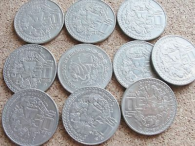 10X Mexican 50 Pesos Coins 1980's Lot of 10 Coins each 50 Pesos Money 500 pesos