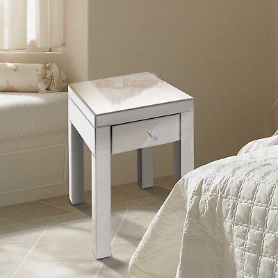 Mirrored Furniture Glass 1 Drawer Bedside Cabinet Table Bedroom MBC10