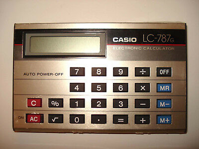 Vintage CASIO LC-787G card style calculator with case