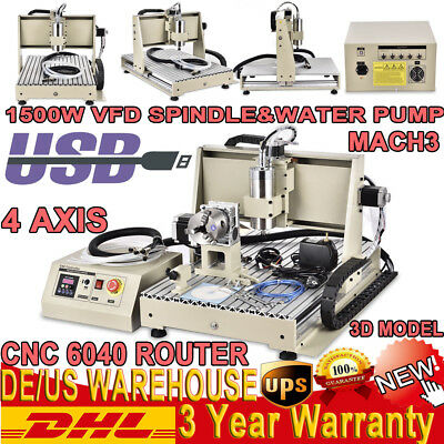4Axis 6040T 1500W CNC Router Engraver USB Engraving Drilling Milling 3D Cutter