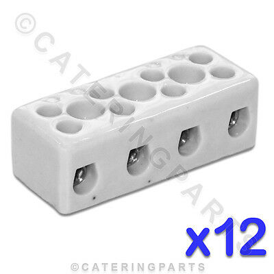 12x CERAMIC HIGH TEMPERATURE ELECTRICAL CONNECTOR BLOCKS 4 POLE 10mm 57A