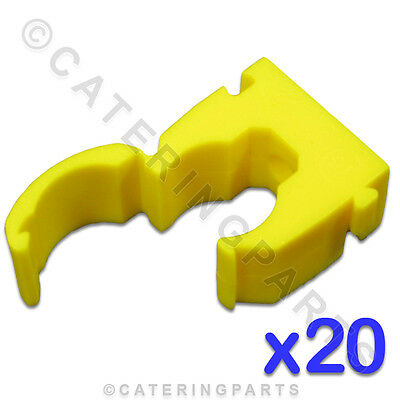 CL112 TALON 20 x HIGH QUALITY 15mm SINGLE HINGED PIPE CLIPS YELLOW FOR GAS TUBES