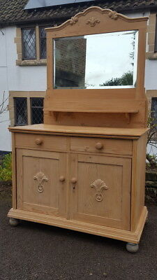 A Stunning Antique Stripped Pine Early 20th Century Dessing Chest/Table & Mirror