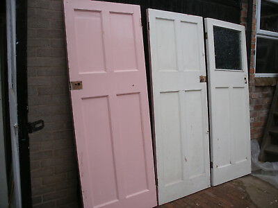 Reclaimed 1930s four panel pine doors. Painted / unrestored (7 available)