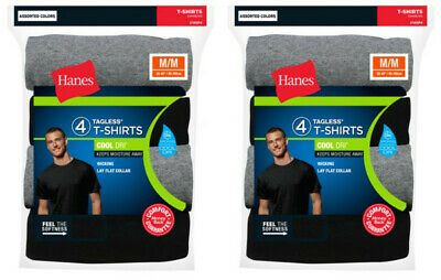 8 Pack Hanes Mens TAGLESS Crewneck T Shirt Undershirt Assorted Colors & Size