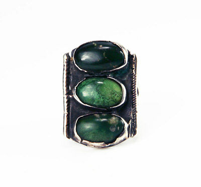 c. 1920  Navajo Turquoise and Silver Ring, Size 6