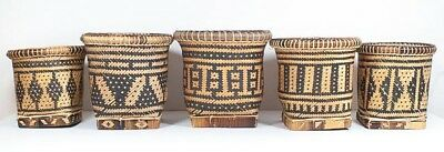 Collectible Woven Baskets PHILIPPINES TIRURAY TRIBAL Handcrafted BAMBOO Baskets