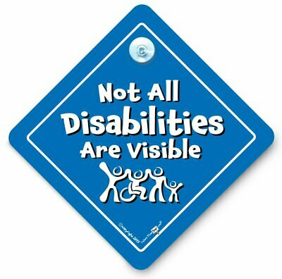 Not All DISABILITIES Are Visible Car Sign, Disabled Car Sign, Suction Cup Sign