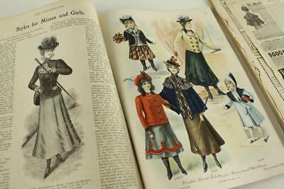 Vintage Paper Advertising Lot DELINEATOR Clothing Catalog Millinery Netting 1900
