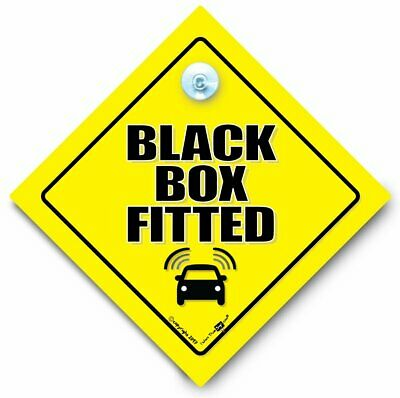BLACK BOX FITTED Car Sign, Suction Cup Sign, Black Box Car Sign, Black Box Sign
