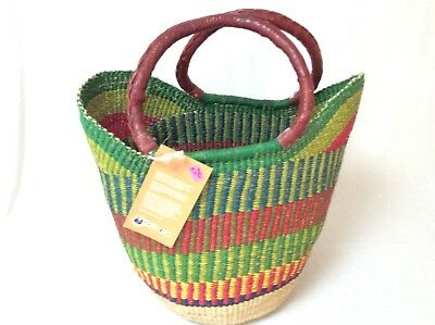 African Market Basket - Multi colors - Leather handles