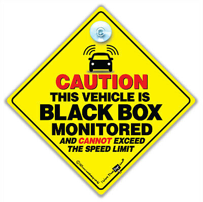 CAUTION BLACK BOX MONITORED Car Sign, Black Box Car Sign, Black Box Sign