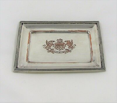 Small Silver Over Copper Tray With Crest