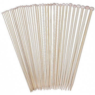 18 Sizes 36cm Single Pointed Bamboo Knitting Needles Set Kit 2.0mm - 10.0mm R9Z7