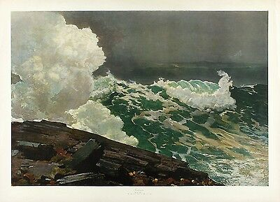 WINSLOW HOMER, XRARE Vtg c1930s-40s 'Large Format' Collotype Litho NORTHEASTER