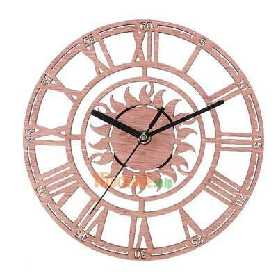 Wooden Wall Mounted Clock Round Hanging Watches Office Bedroom Home Decoration