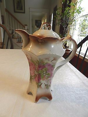 Antique German Chocolate Pot--Hand Painted- Victorian Floral