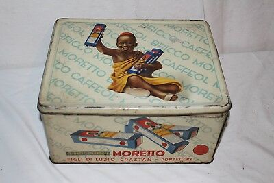 Large Black Americana Vintage 1930's Moretto Coffee Tin Can Gas Oil Metal Sign