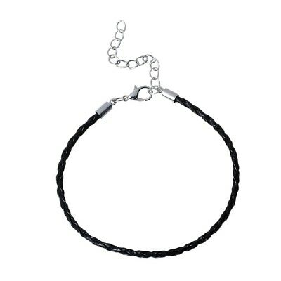 10 Pcs Black Bracelets  Alloy Leatheroid Silver Tone Lobster Clasp Extended