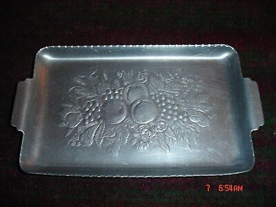 "Small Vintage Pewter plate Tray 7"" x 4"" w/ fruit engraved"