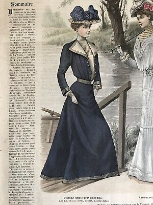 French MODE ILLUSTREE SEWING PATTERN Apr 14,1901 COSTUME SIMPLE, CORSET
