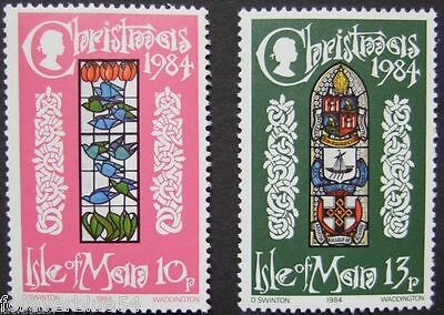 Isle of Man 1984 SG 272-273  Sc 274-5 MNH Christmas Birds Stained Glass Windows