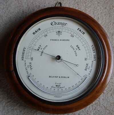 New inside photo & comment - 1800s Belfast Barometer & Thermometer by FM Moore