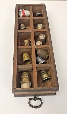 Vintage Wooden Drawer with Silver Thimbles White King Soap Patina