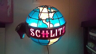 "Vintage 1976 Schlitz Giant 13"" Dia Lighted Shimmer Motion World Globe Beer Sign"