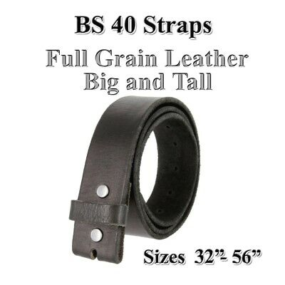 """Big & Tall Bs 40 Black Full Grain Leather Belt Straps One Piece 1 1/2"""" Wide New"""