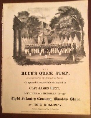 The Blue's Quick Step- J. Holloway..c. 1836 piano Sheet Music-NR