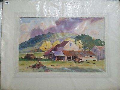 Original 20th century watercolor painting. Signed A.E. Payne