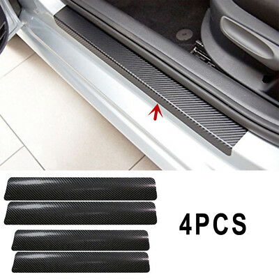 4Pcs Black 3D Carbon Fiber Car Door Plate Sill Scuff Cover Anti Scratch Sticker^